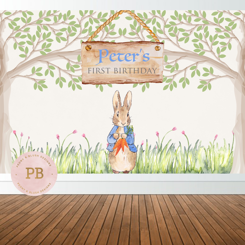 Mesmerizing Peter Rabbit Birthday Backdrop Peter Rabbit Baby Shower Bunny Baby Cake Table Backdrop Peter Rabbit Birthday Backdrop Peter Rabbit Baby Shower Backdrop