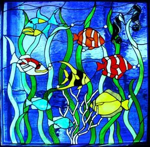 Tropical fish under the sea stained glass stained glass for Stained glass fish patterns