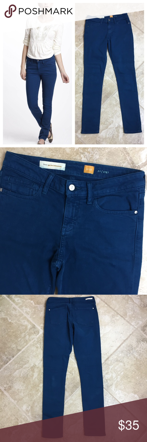 ANTHROPOLOGIE Pilcro Press STET Skinny Jeans These jeans are in great condition! 94% cotton 5% polyester 1% spandex. 16 inches across the waist. 9 inch rise. 32 inch inseam. The color is more of a turquoise in real life. It photographs more of a royal blue. It is a bit lighter. Non-smoking pet free home.           🔹suggested user 🔹fast shipper🔹                                   🔸bundle to save 15%🔸300+ items🔸 Anthropologie Jeans Skinny