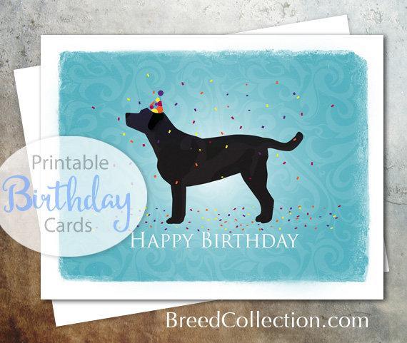 Black Labrador Retriever Dog Birthday Card From The Breed Etsy Dog Birthday Card Labrador Retriever Dog Dog Birthday