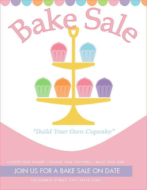 Cake Art Design School : Free bake sale flyer template http://bakesaleflyers.com ...