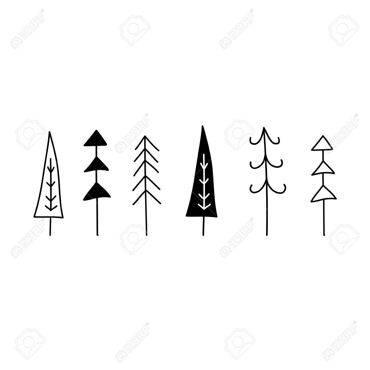 Christmas Tree Set Hand Drawn Graphic Vector Illustration Line Hand Drawn Christmas Cards Christmas Tree Graphic Christmas Card Design