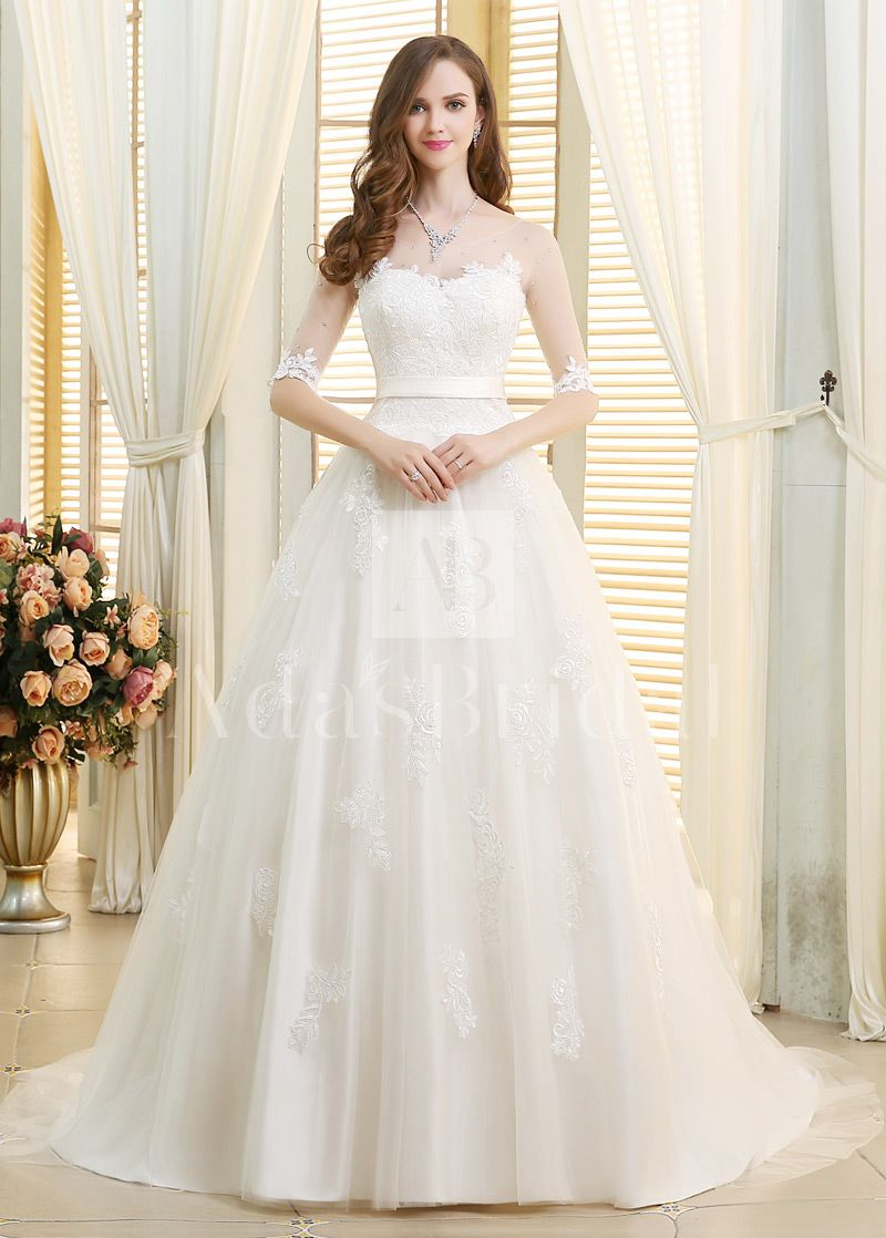 Antique cream wedding dress  Stunning Tulle Scoop Neckline Ball Gown Wedding Dresses With Lace