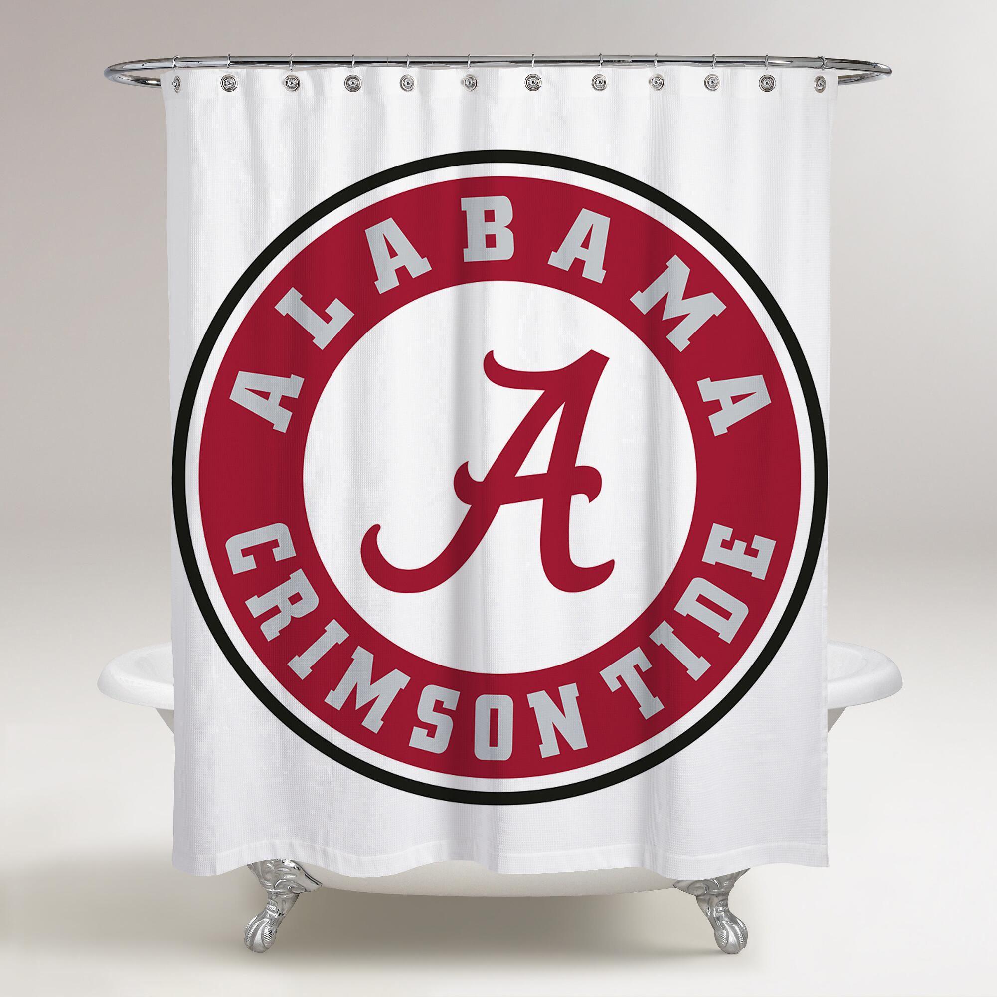 Alabama Crimson Tide Logo Wallpaper Printed Shower Curtain