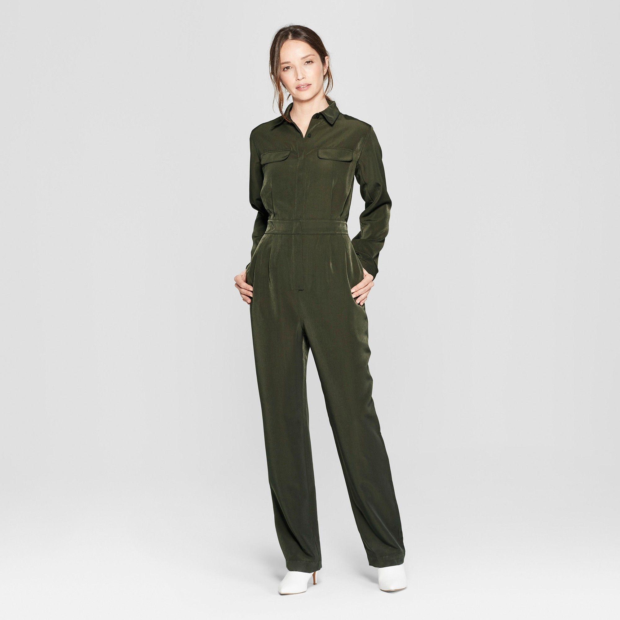 619946961 Women's Long Sleeve Collared Utility Jumpsuit - Prologue™ Olive XS ...