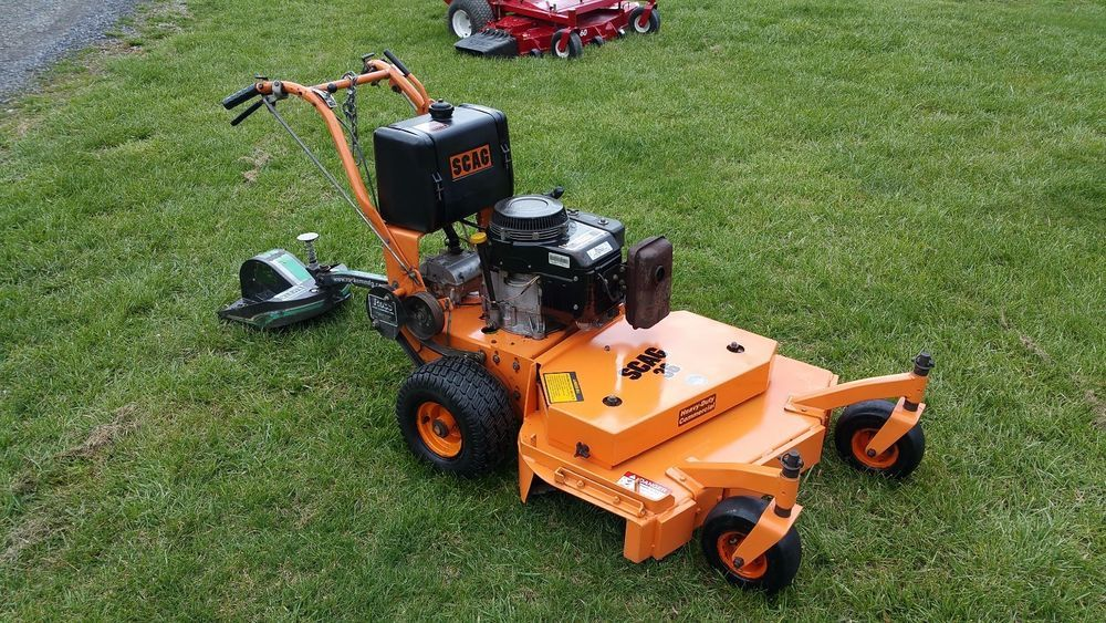 Scag Sw 36 Walk Behind Lawn Mower Commercial Kawasaki 13hp Engine W Sulky Walk Behind Lawn Mower Lawn Mower Mower