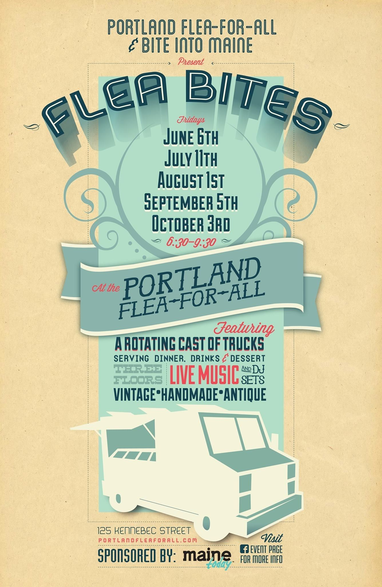 Portland ME:  All Summer: Flea Bites, a monthly food truck festival at the Flea! Enjoy the best from a rotating cast of food trucks, plus three floors of ...