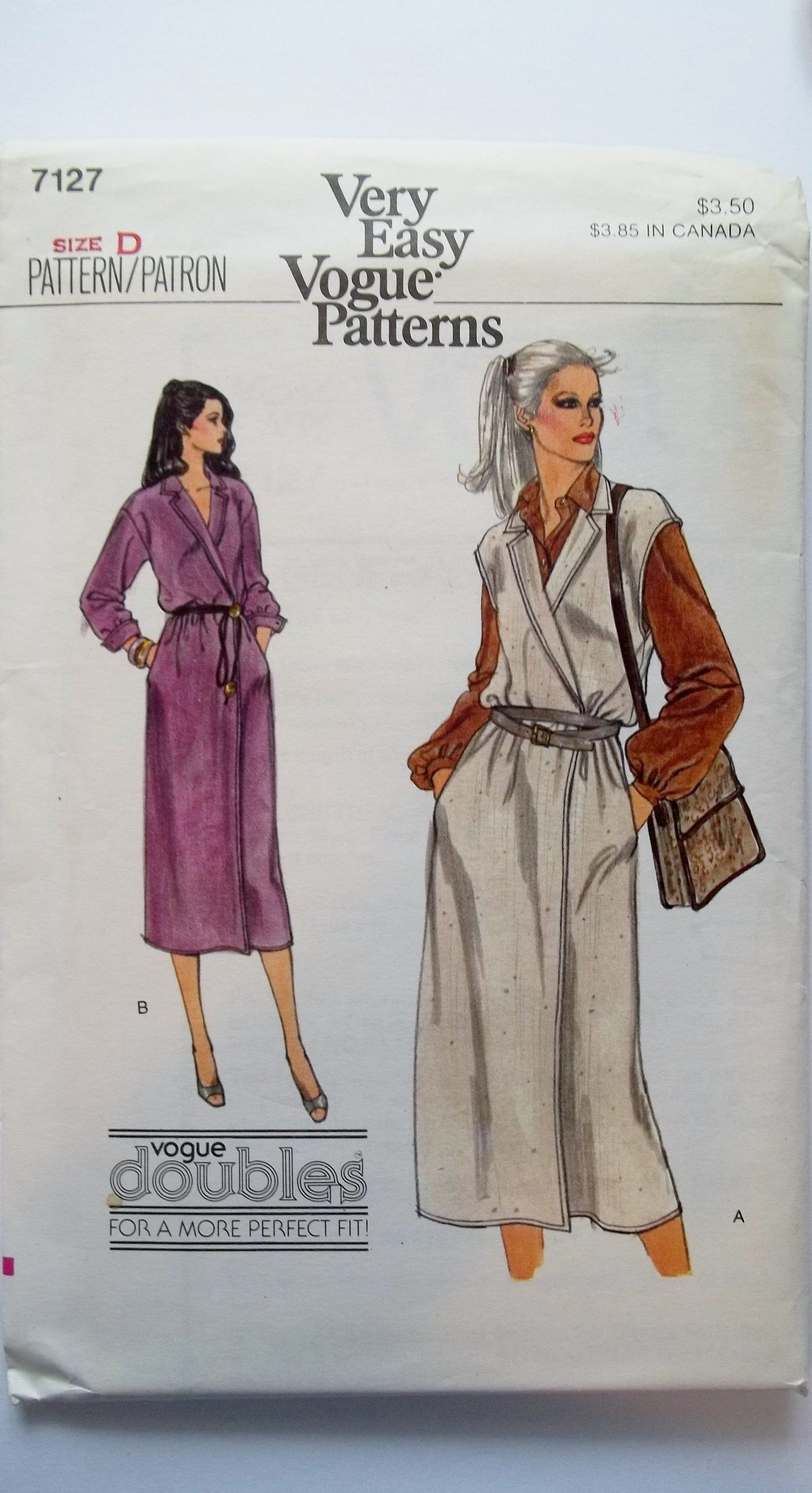 Misses Easy Wrap Dress Vogue 7127 Sewing Pattern Notched Collar Below Mid Knee Sleeveless Or Buttoned Cuffs Pockets Size 12 14 Uncut Wrap Dress Easy Wrap Vogue Pattern [ 3000 x 1633 Pixel ]