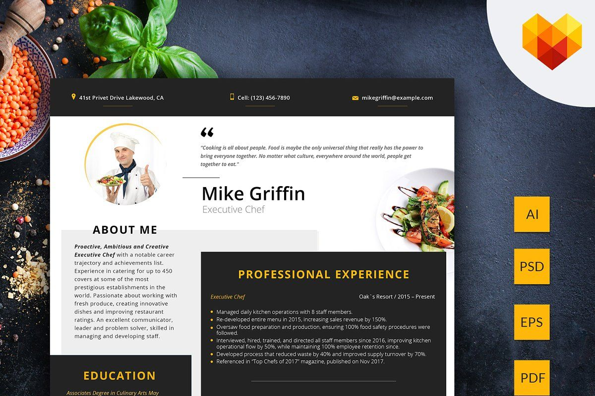 Ad  Editable Resume  Executive Chef By Motocms On  Creativemarket  Download Professional Cv