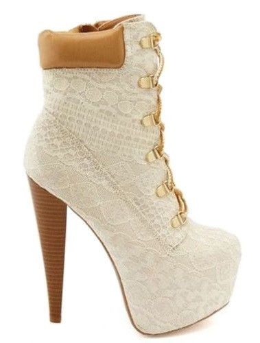 c62ca7438f Pratt-04X Ivory Lace Platform Ankle Boots Lace up Stiletto Heels in ...