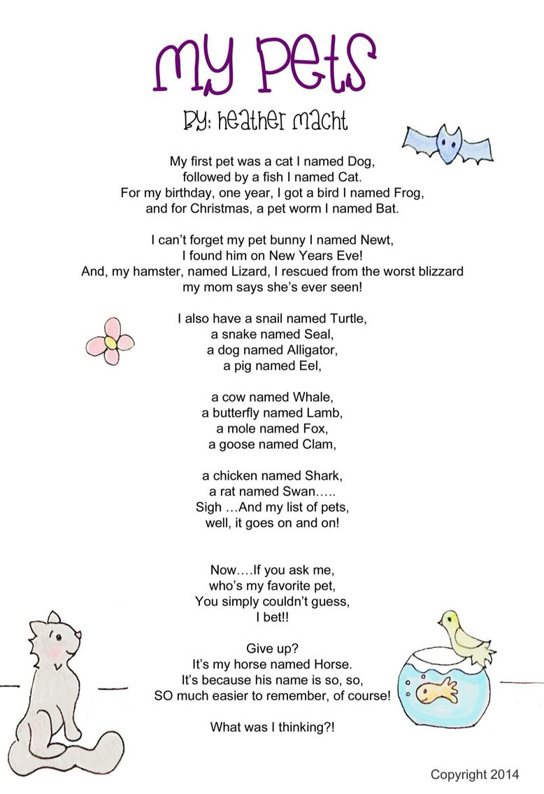 Original Children's Poem and Illustrations Kids writing