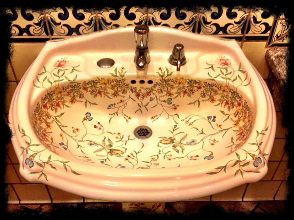 Painted Porcelain Sink With Images Porcelain Painting
