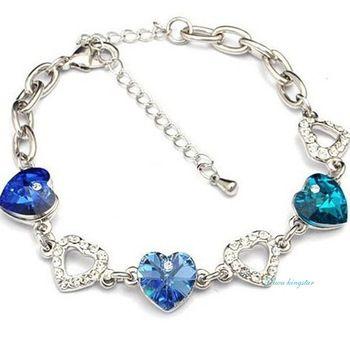ACS-110 Yiwu kingstar 2015 Fashion Elegant Heart Crystal Mosaic Link Bracelets For Women High Quality Fine Jewelry