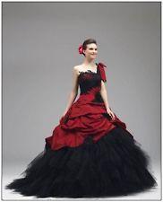 Neu Gothic Rot Schwarz Brautkleider Ballkleid Eine Schulter