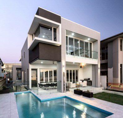 Silicon butt corner window over Pool   Riverside modern home design ...