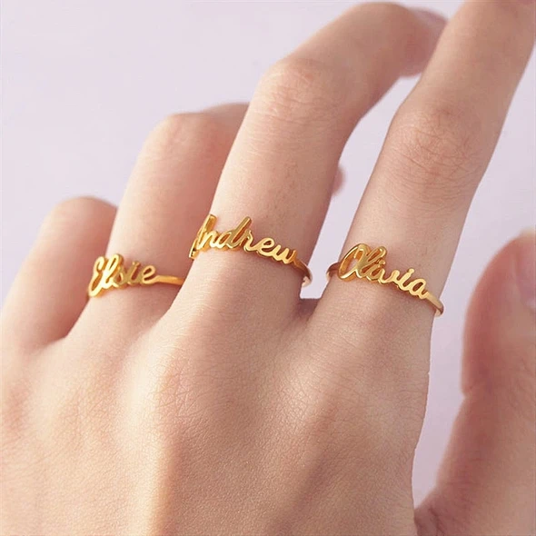 Children name ring Personalized gift for men and women Custom name ring Statement jewelry Infinity ring