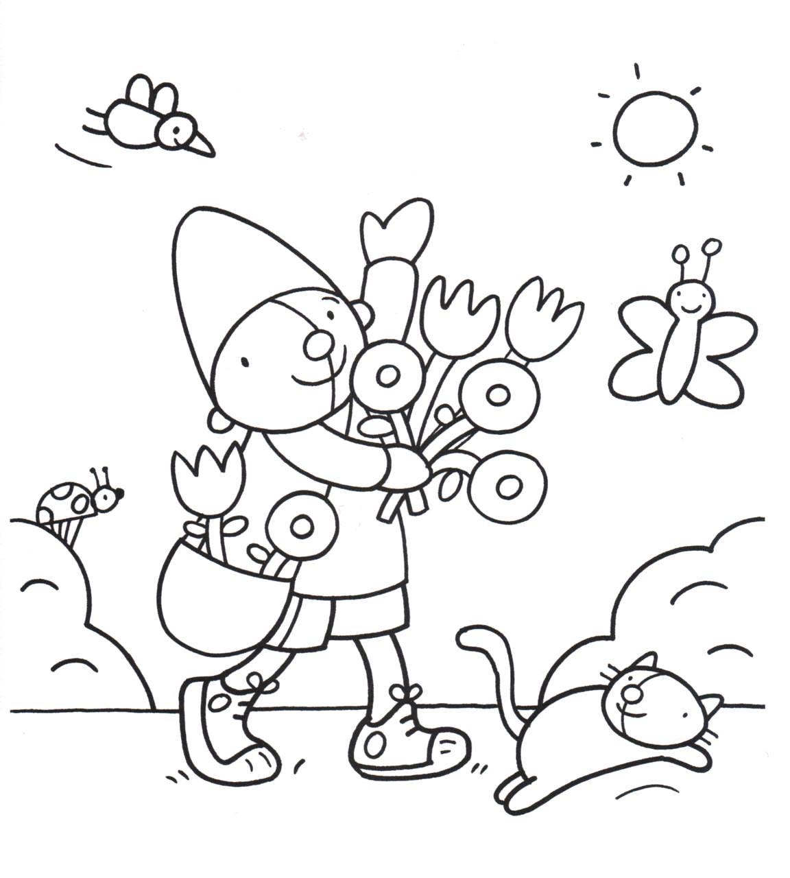 Kleurplaten Voorjaar Peuters.Kleurplaat Pompom Lente Pompom Kleurplaten Kind Activiteiten En