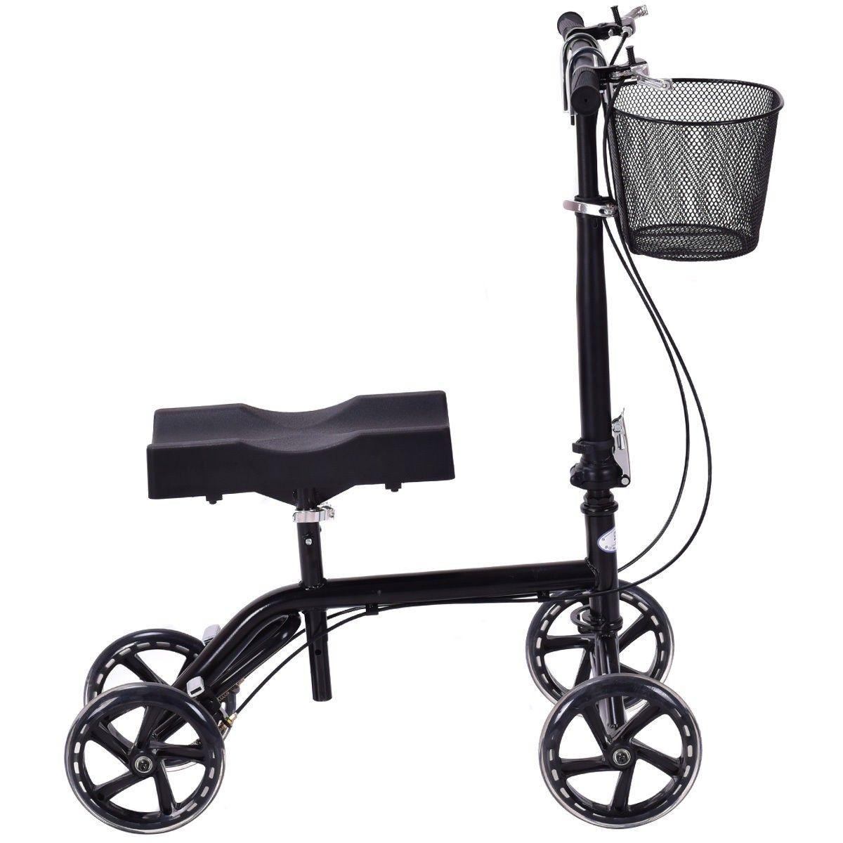Foldable Knee Walker Scooter Turning Brake Basket