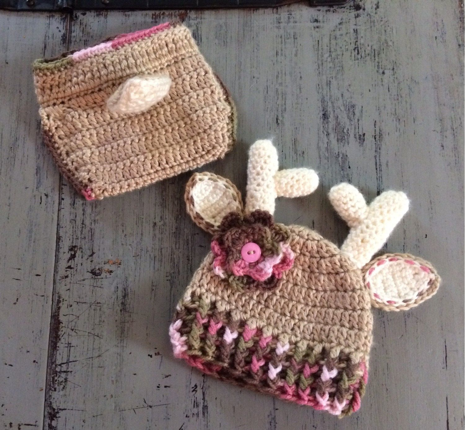 5abc87d1392 Crochet Pink Camo Deer Hat and Diaper Cover