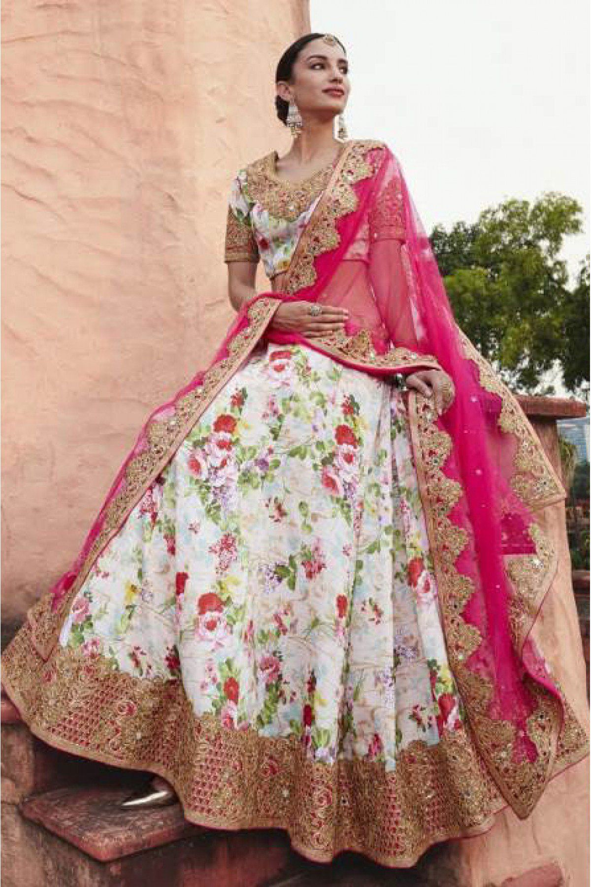 750c24dc5be07f Off White and Pink Colour Georgette Fabric Designer A Line Lehenga Choli  Comes With Matching Blouse and Dupatta. This Lehenga Choli Is Crafted With  Resham ...