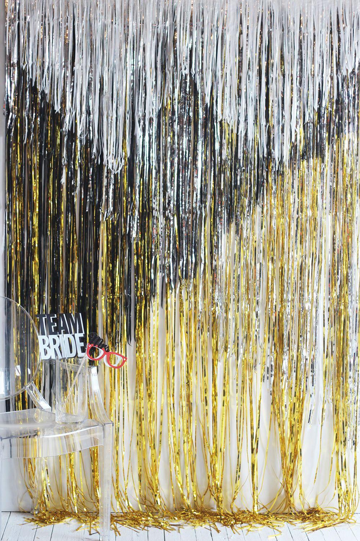diy geometric metallic fringe backdrop