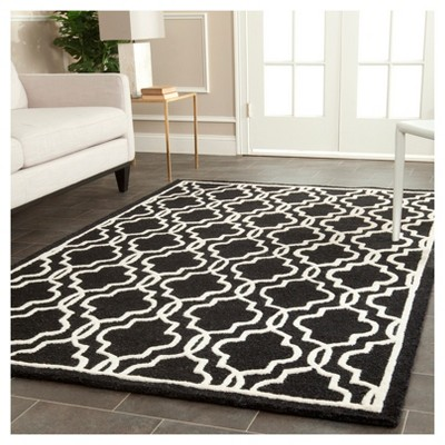 Langley Textured Accent Rug Black Ivory 4 X 6