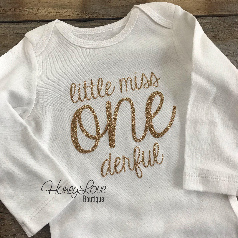 Little Miss One-derful - Silver/Gold glitter bodysuit - LongSleeve-Silver / 24 months