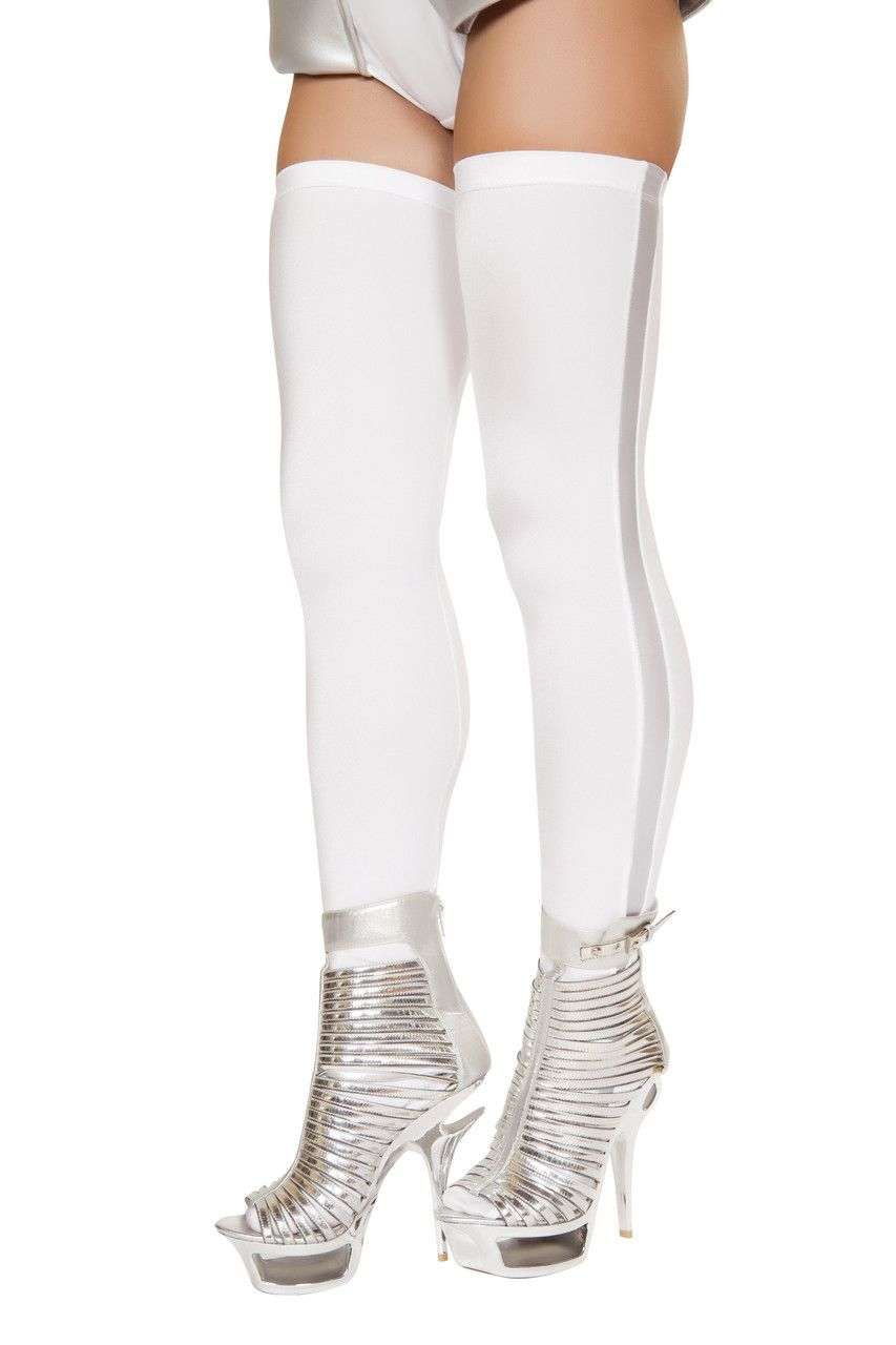 7cf869451 Costumes Accessories - All Costumes. Sexy Roma White Silver Space Commander  Astronaut Thigh Highs Stockings Leggings