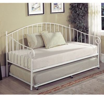 K B Furniture Bt01 Twin Metal Daybed In White Daybed Bedding