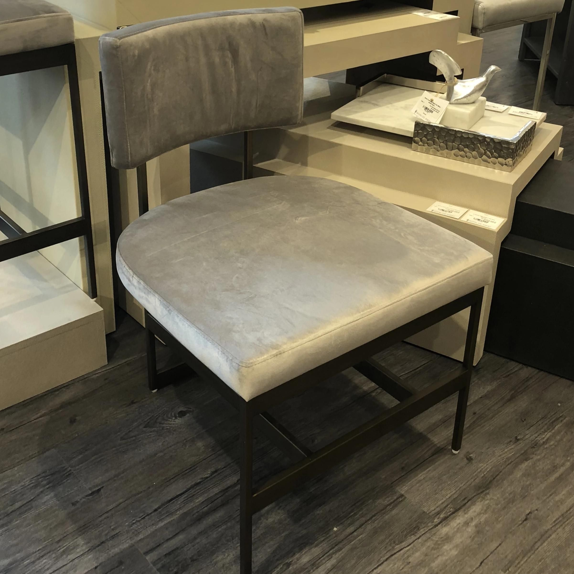 Photo of Shaw Chair Brass and Grey Velvet – Steel; Brass Finish; Grey Velvet / 33 High x 22.5 Wide x 24 Deep