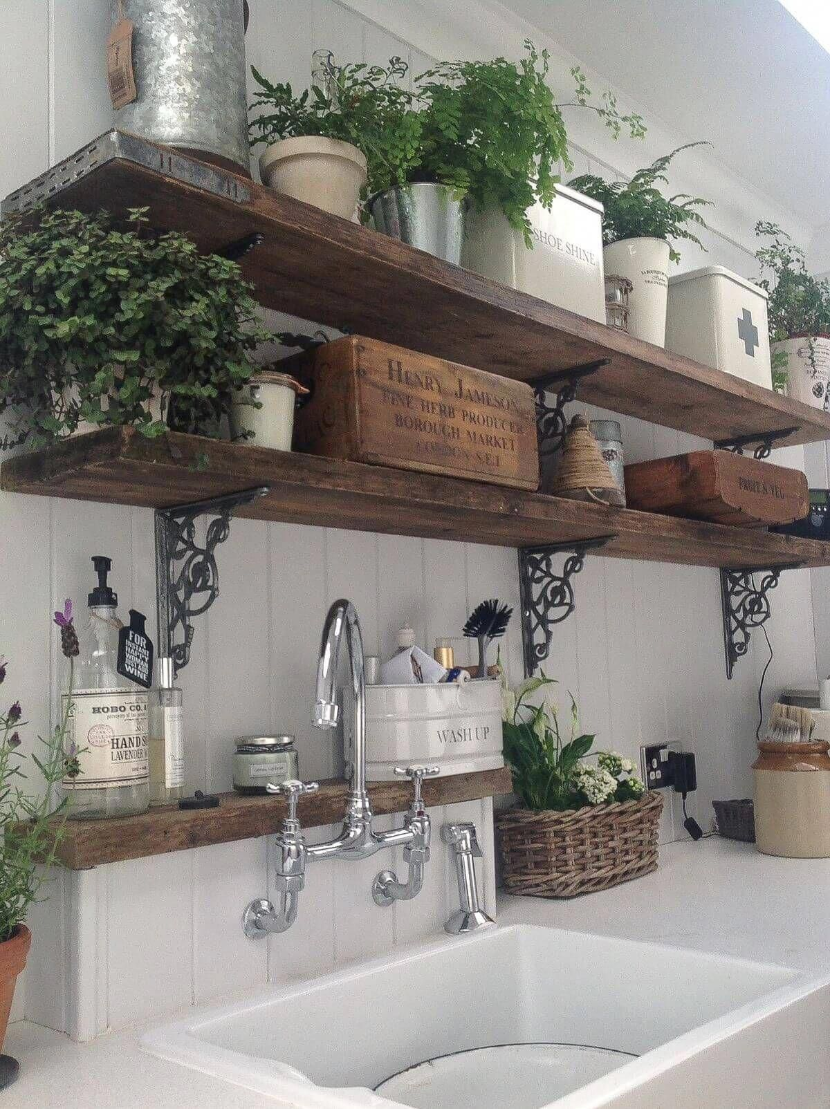 Rustic Wooden Kitchen Shelves with Potted Ferns #diykitchenideas