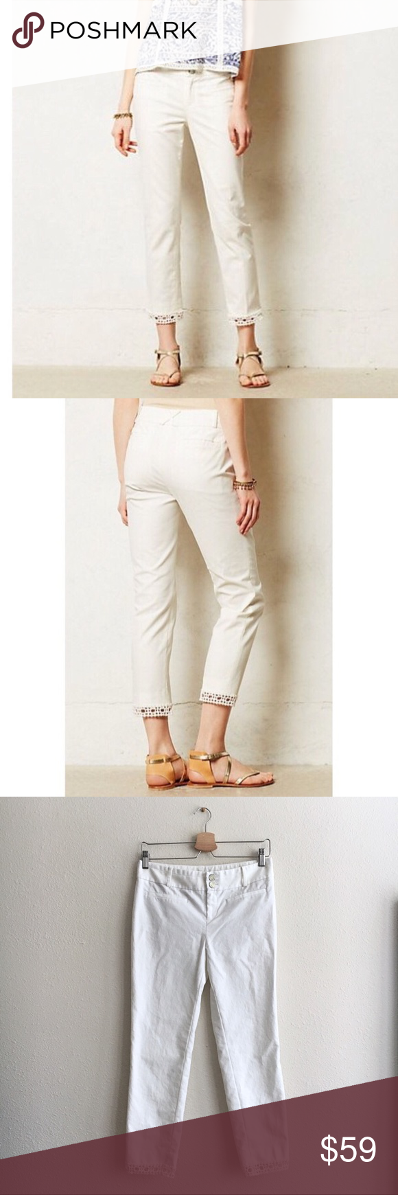 White lace capri pants White eyelet pants White ankle pants