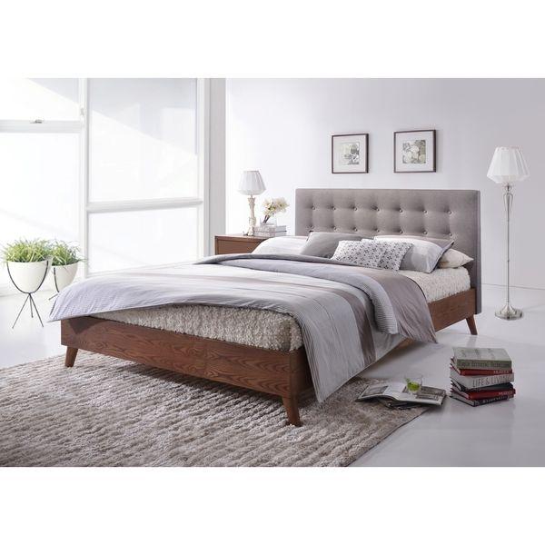 baxton studio alinia midcentury grey upholstered walnut wood platform bed by baxton studio - Platform Beds For Sale