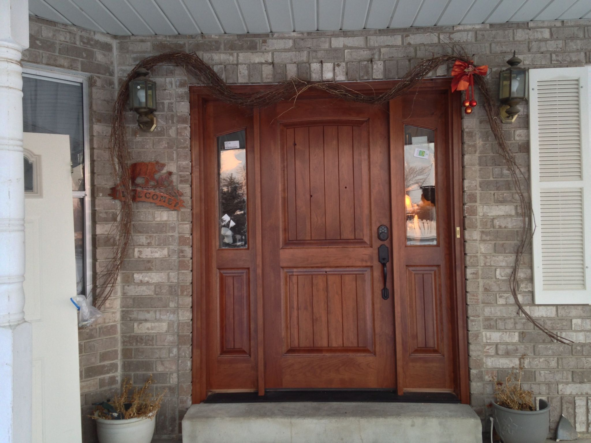 Wooden front door with wood front door rustic cherry for Wooden house front doors