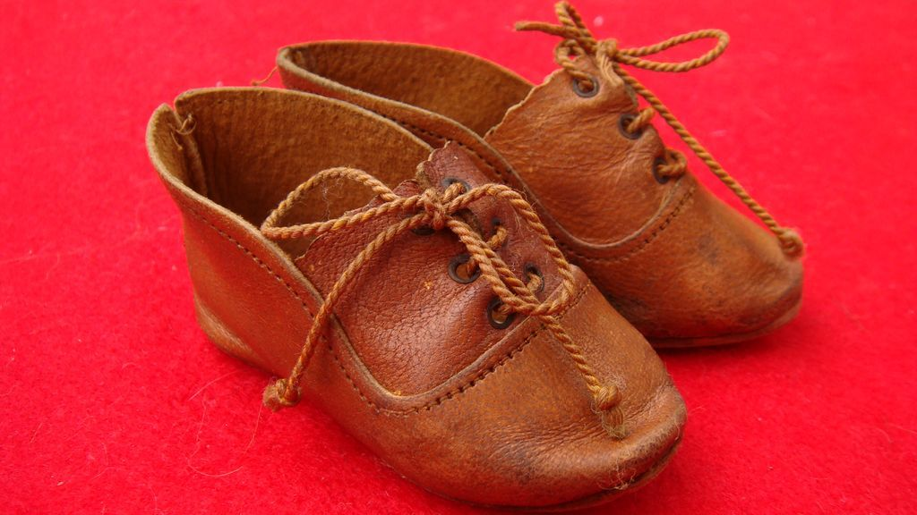 Old two toned lace up tan leather doll's shoes from mychoice on Ruby Lane