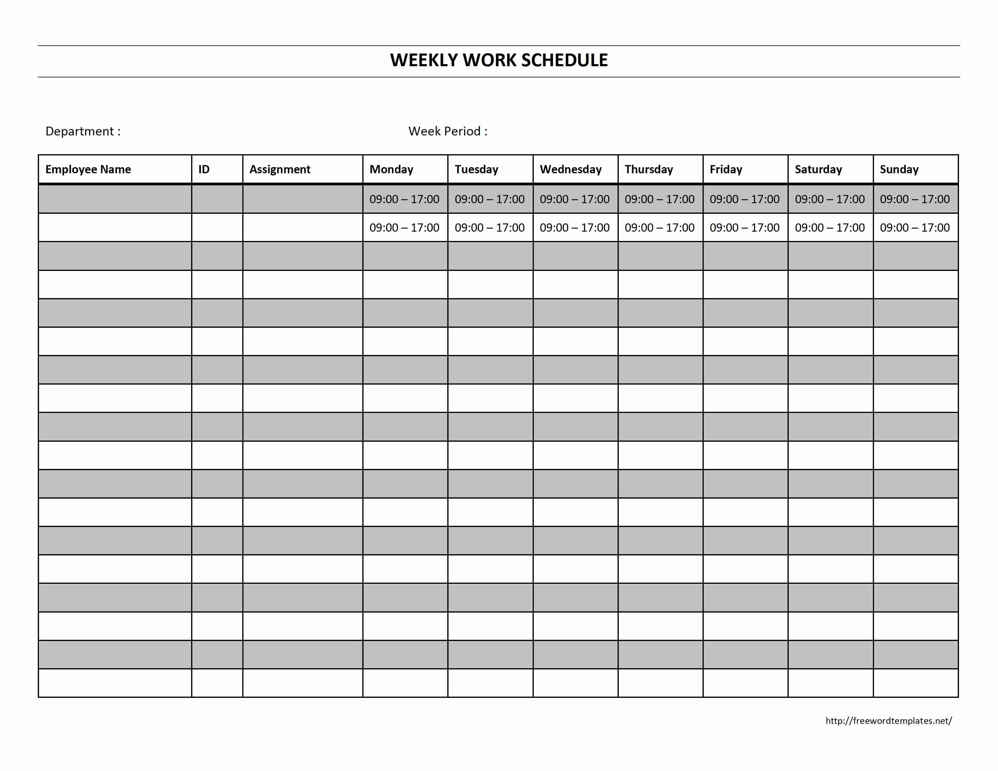 Blank+Weekly+Work+Schedule+Template | business | Pinterest ...