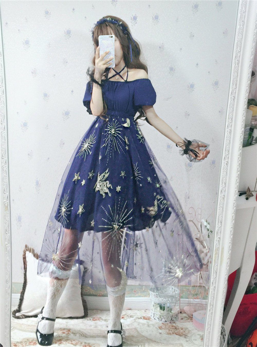 52b83a4ed52 Japanese Harajuku Blue Star Unicorn Mesh Sheer Dress SD01672 in 2019 ...