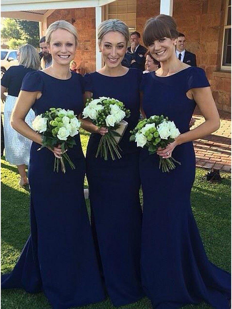 Trumpetmermaid capsleeves long blue wedding party dresses