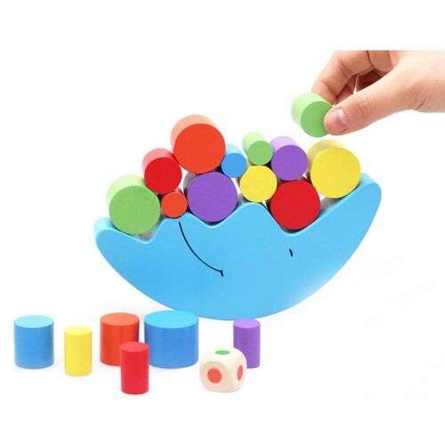 Kids Balancing Moon Wooden Educational Learning Toy Game Block Puzzle Balance