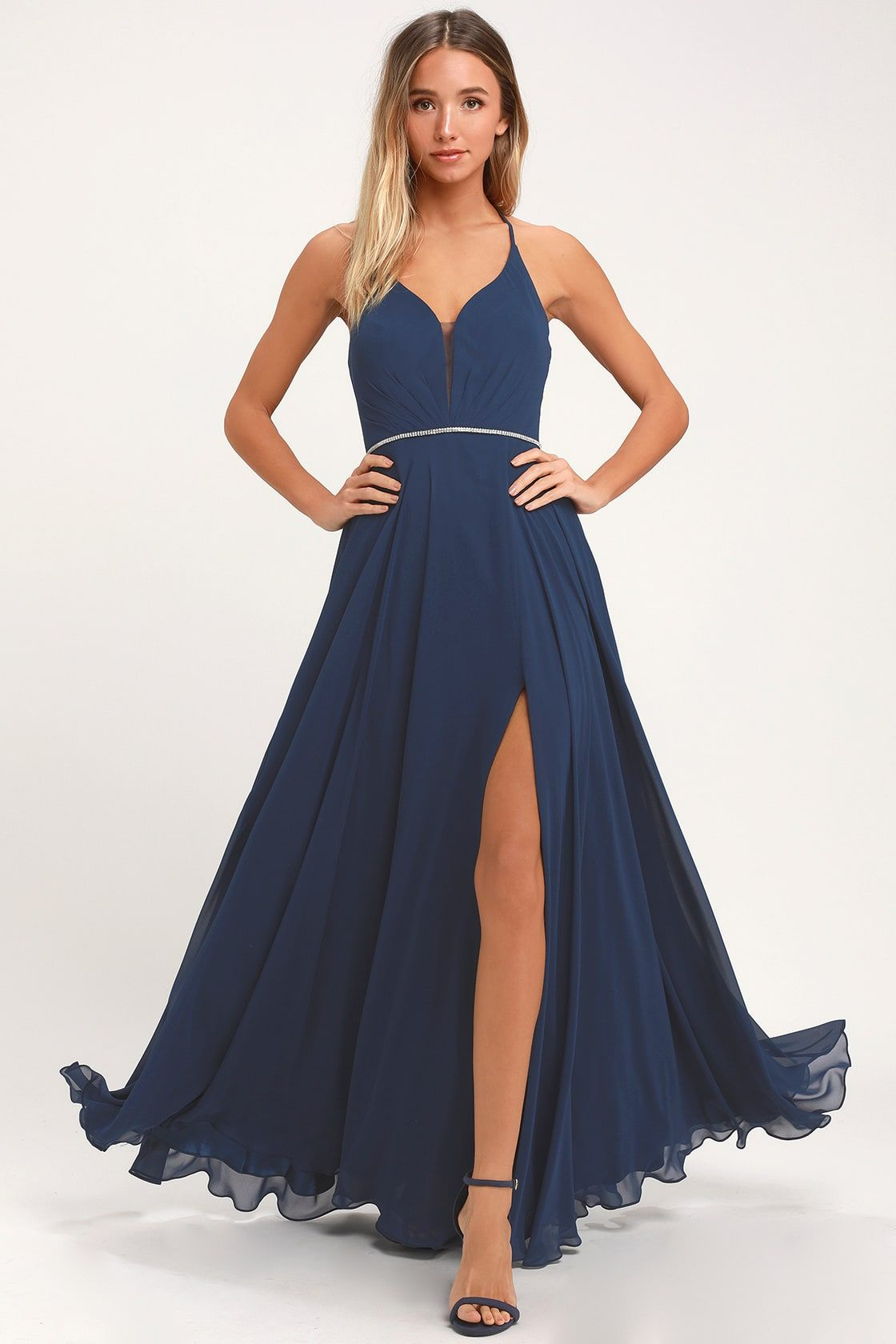 d8872680a40d Lulus | She's Gorgeous Navy Blue Lace-Up Rhinestone Maxi Dress ...
