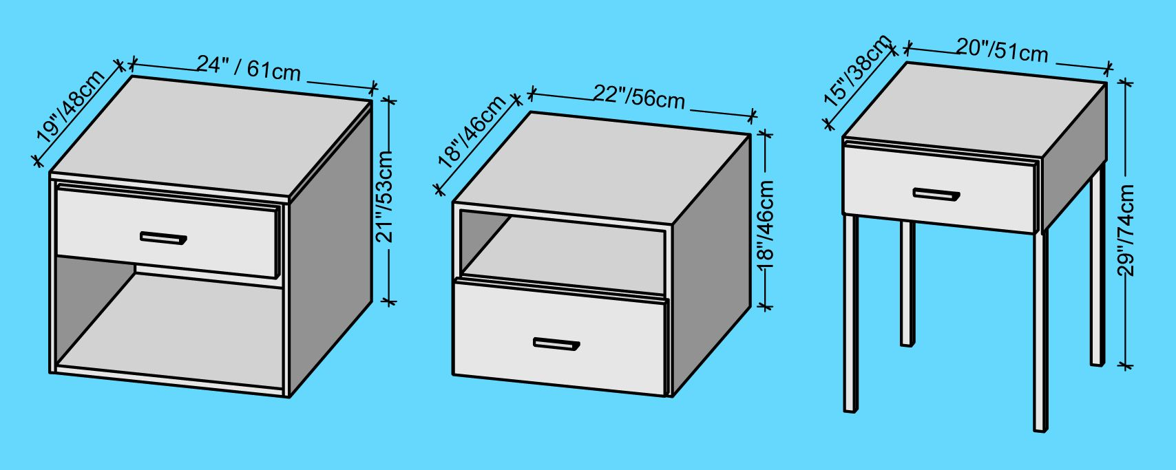 Bedside Table Dimensions Cm Standard Google Search Bedside