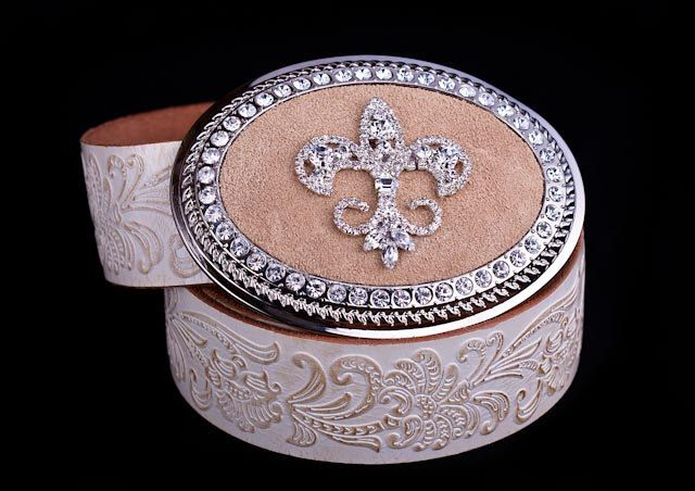 Fleur De Lis on Tan Suede Austrian Crystal by BuckleXpressions, $65.00