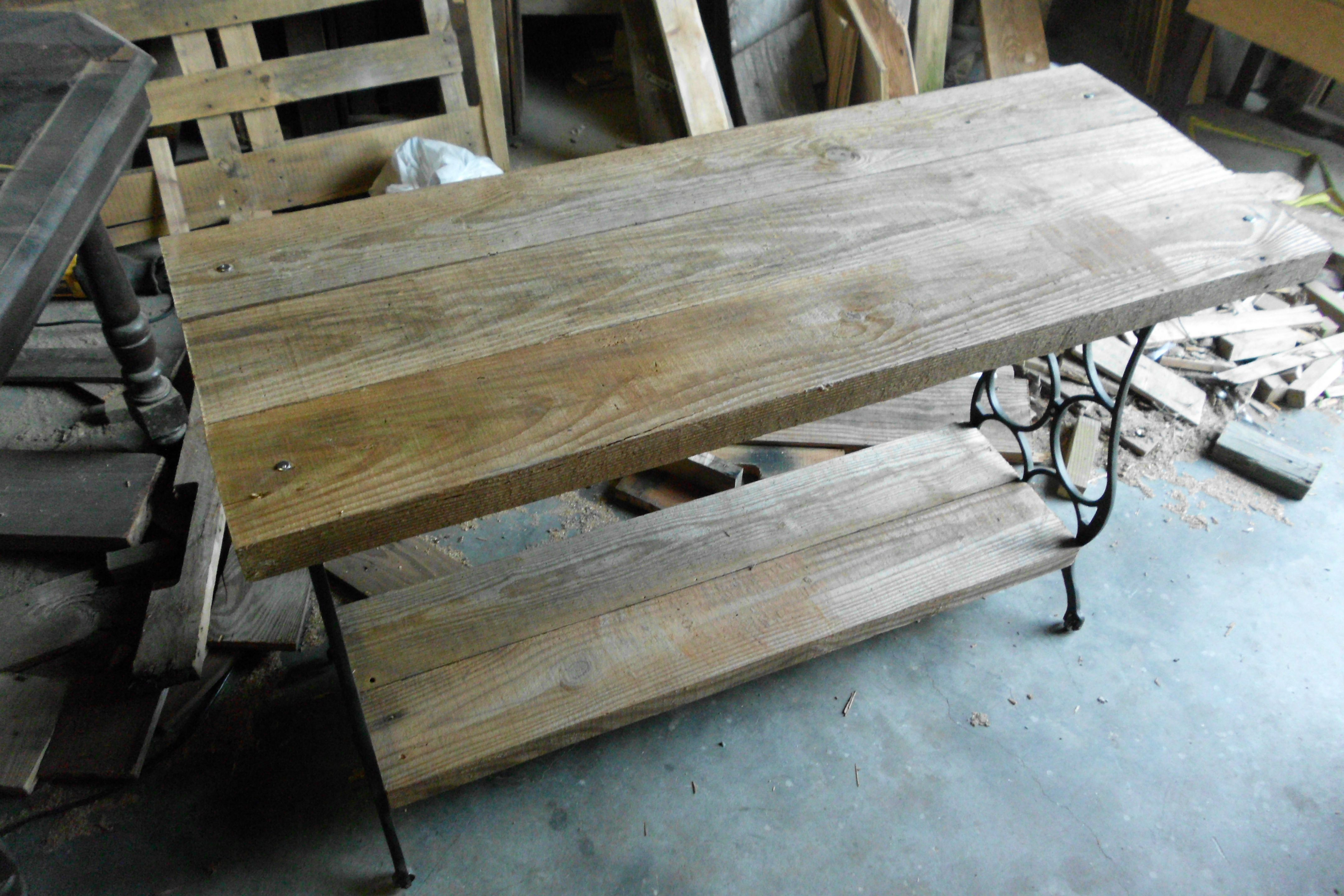 Antique Sewing Machine Base I Added Old Barn Wood Beams 4