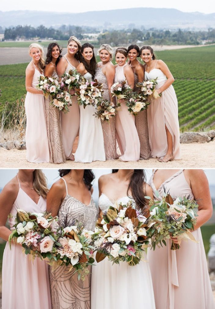 d1703617557 Image result for bridesmaid dresses to go with blush flowers