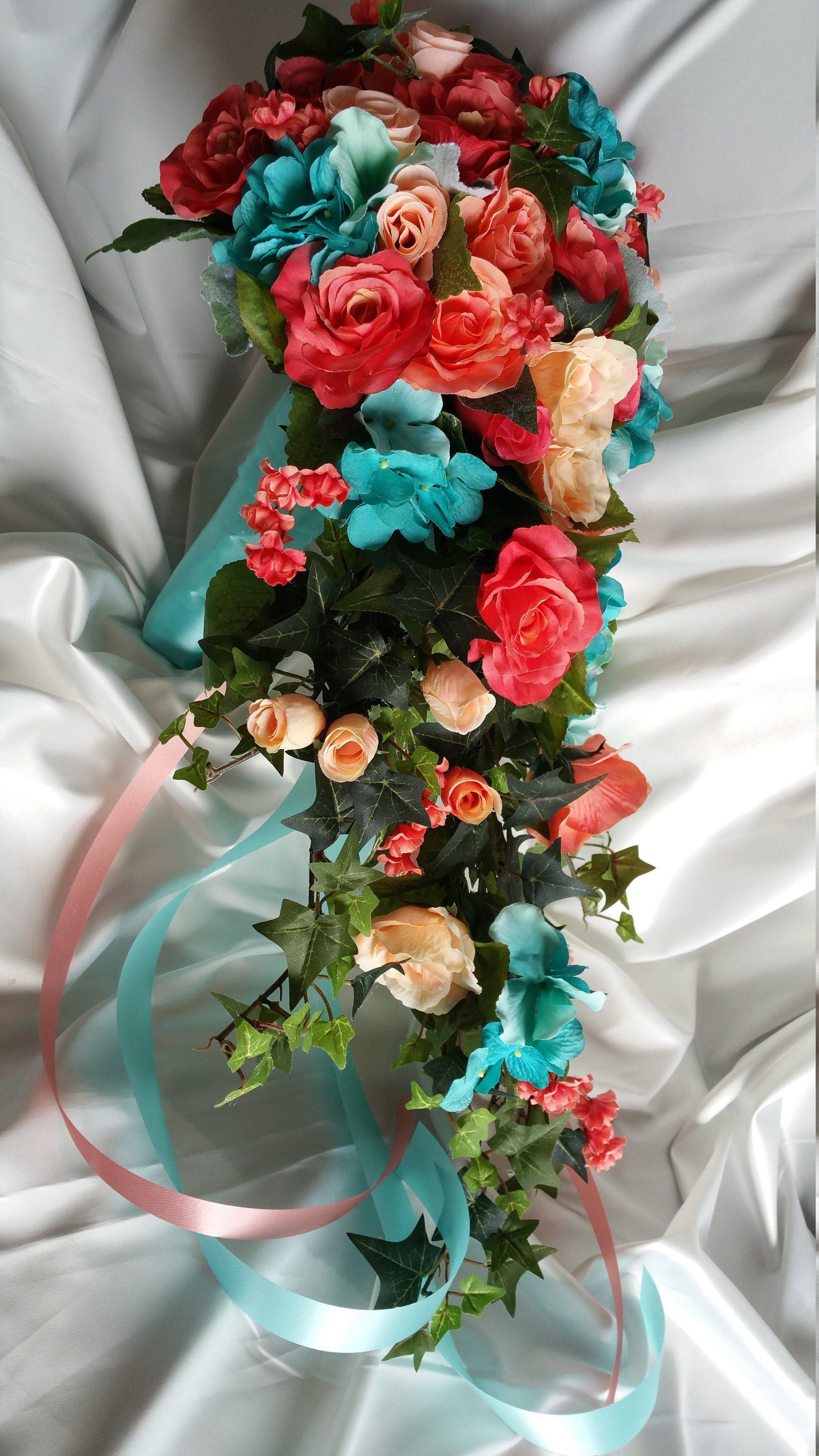 Coral teal bridal bouquet with or without cascade free
