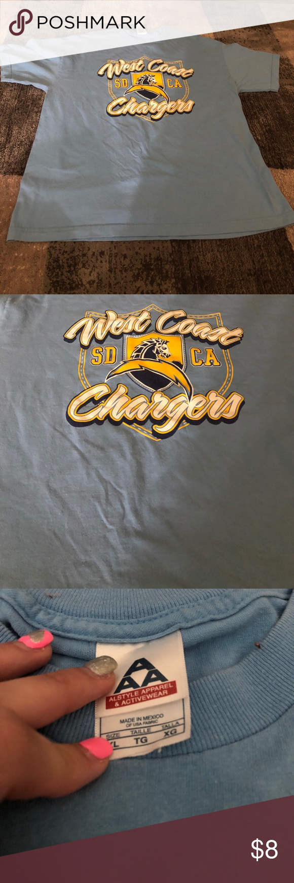 Chargers Tee West Coast San Diego Chargers T Shirt Alstyle Apparel And Activewear Shirts Tees Short Sleeve Active Wear Shirts Activewear Blue Tees