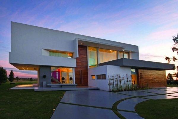 Glasfronten Fassaden Gestaltung-Holz Paneele-horizontal ...