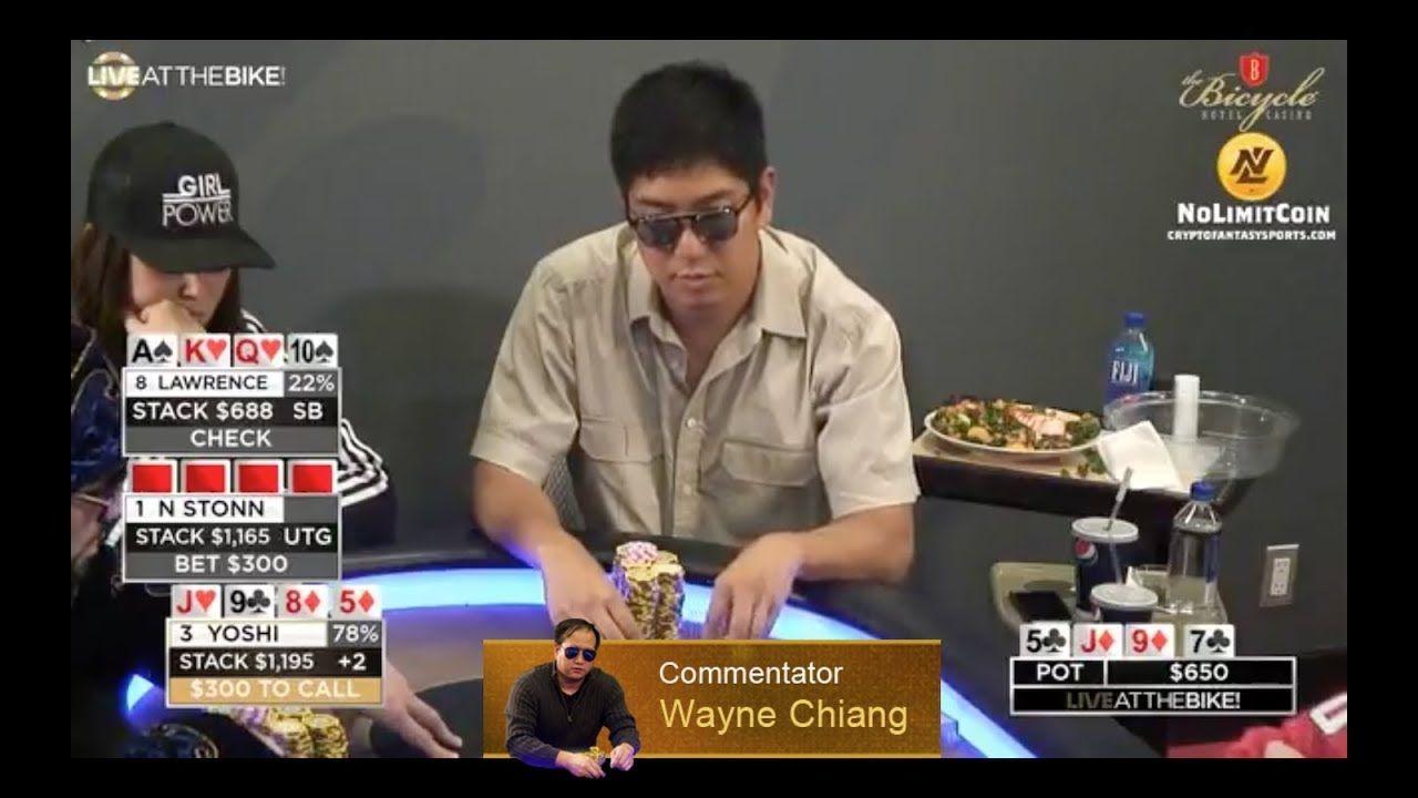 Mike Yoshino playing Pot Limit Omaha. Wayne Chiang