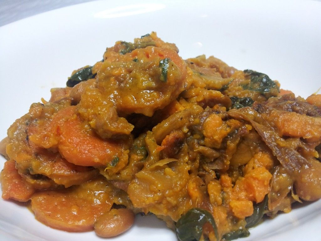 Ridiculously Easy Slow Cooker Curry - Carrots, Pumpkin, Coconut Cream, Spinach, Onion and Spices!