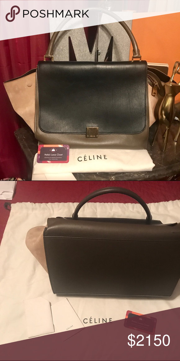 ca97a8ba14e4 Celine trapeze tri color Handbag. More pics coming soon! Bag is in great  shape. Suede on one of the buttons on the back has some area rubbed off but  still ...